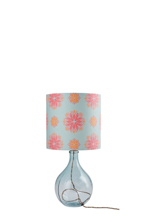Geyson Table Lamp  - Clear with Eau de Nil Floral Spot Shade