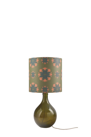 Geyson Table Lamp  - Green with Green Floral Spot Shade