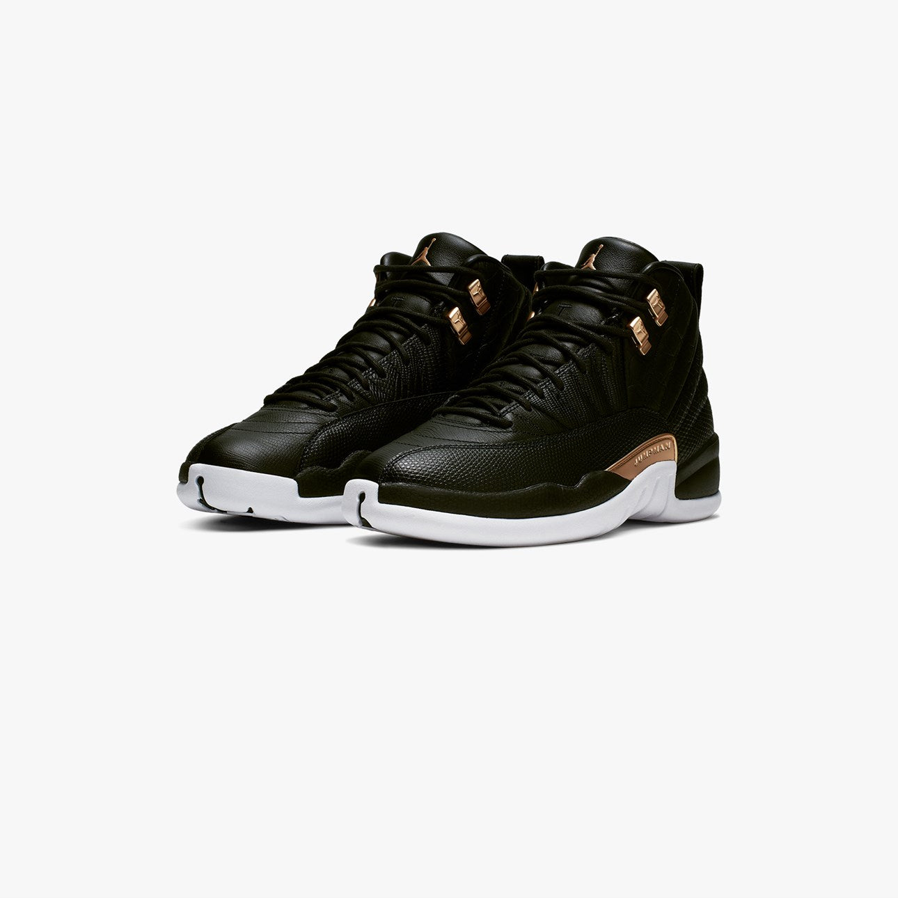 pretty nice 1276e 33cd3 To complete the design, a White outsole unit is added. Women s Air Jordan 12.  BLACK METALLIC GOLD-WHITE AO6068-007