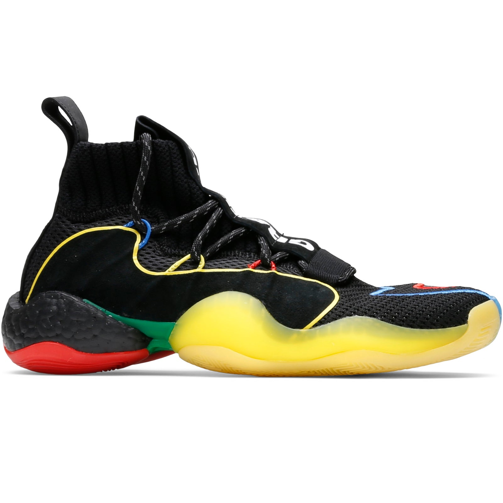 check out 7140c b0f43 ... harkens back to the vintage 1990s era, equipping green, blue, yellow,  and red atop a primarily blacked out base. Adidas x Pharrell Williams Crazy  BYW ...