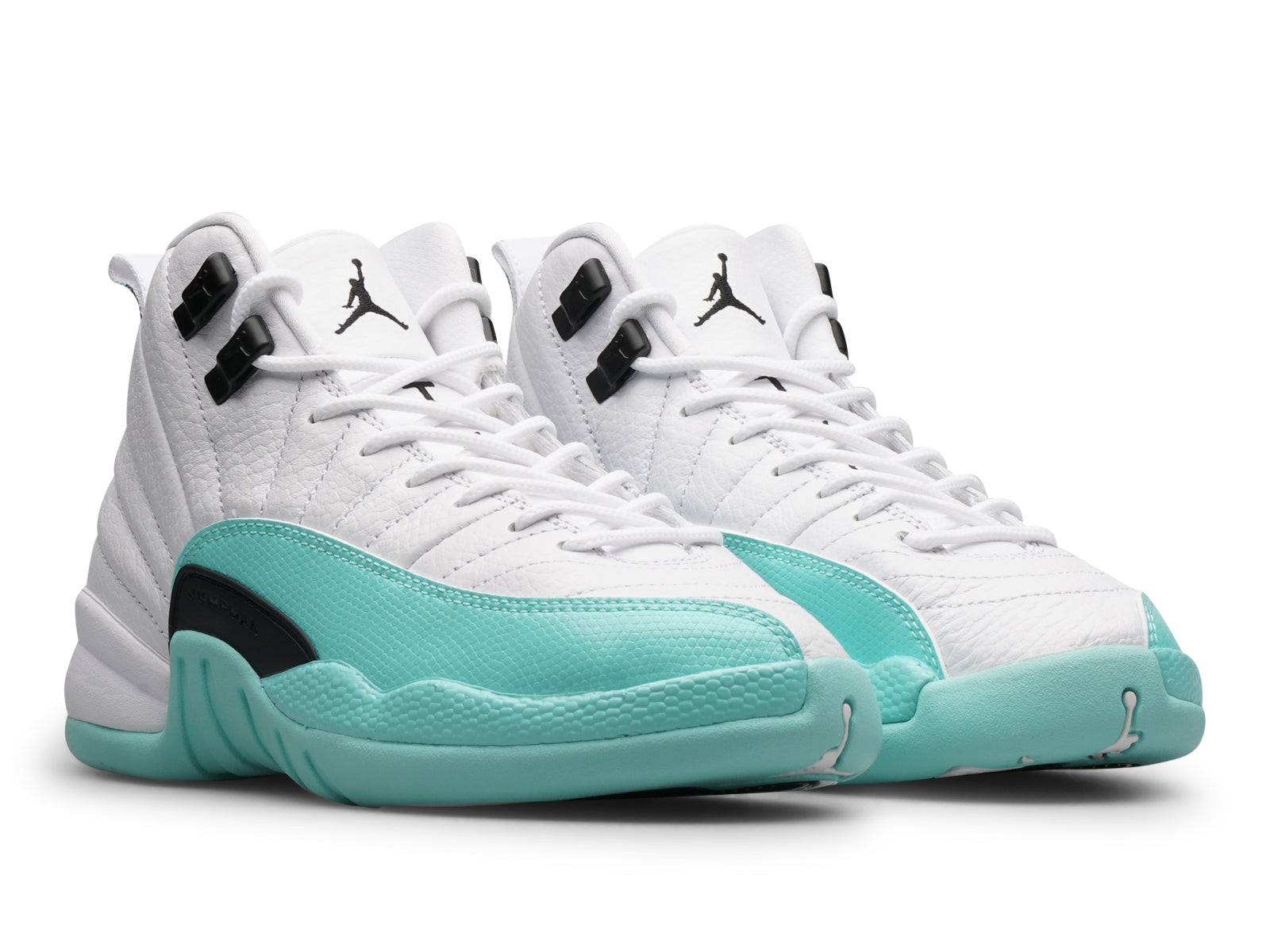 fba3344b3761b6 ... switzerland the air jordan 12 light aqua gs boasts a white leather  upper accompanied by a
