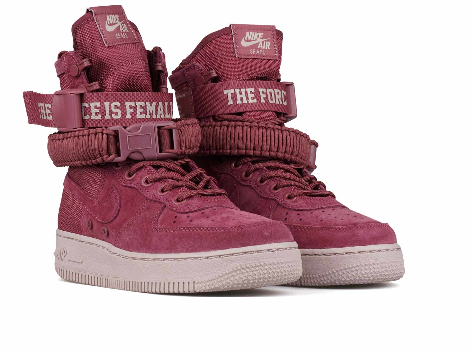 """11719e4f666f4 The ankle strap also allows you to customize the style of the shoe as it  holds """"FORCE IS FEMALE"""" detail. Sitting amongst a pink midsole, this shoe  is a ..."""