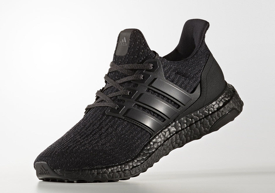 ed4eafbabda83 The adidas Ultra Boost 3.0 Triple Black is constructed in the same black  primeknit upper as its previous release. Accompanied with a matching cage  and matte ...