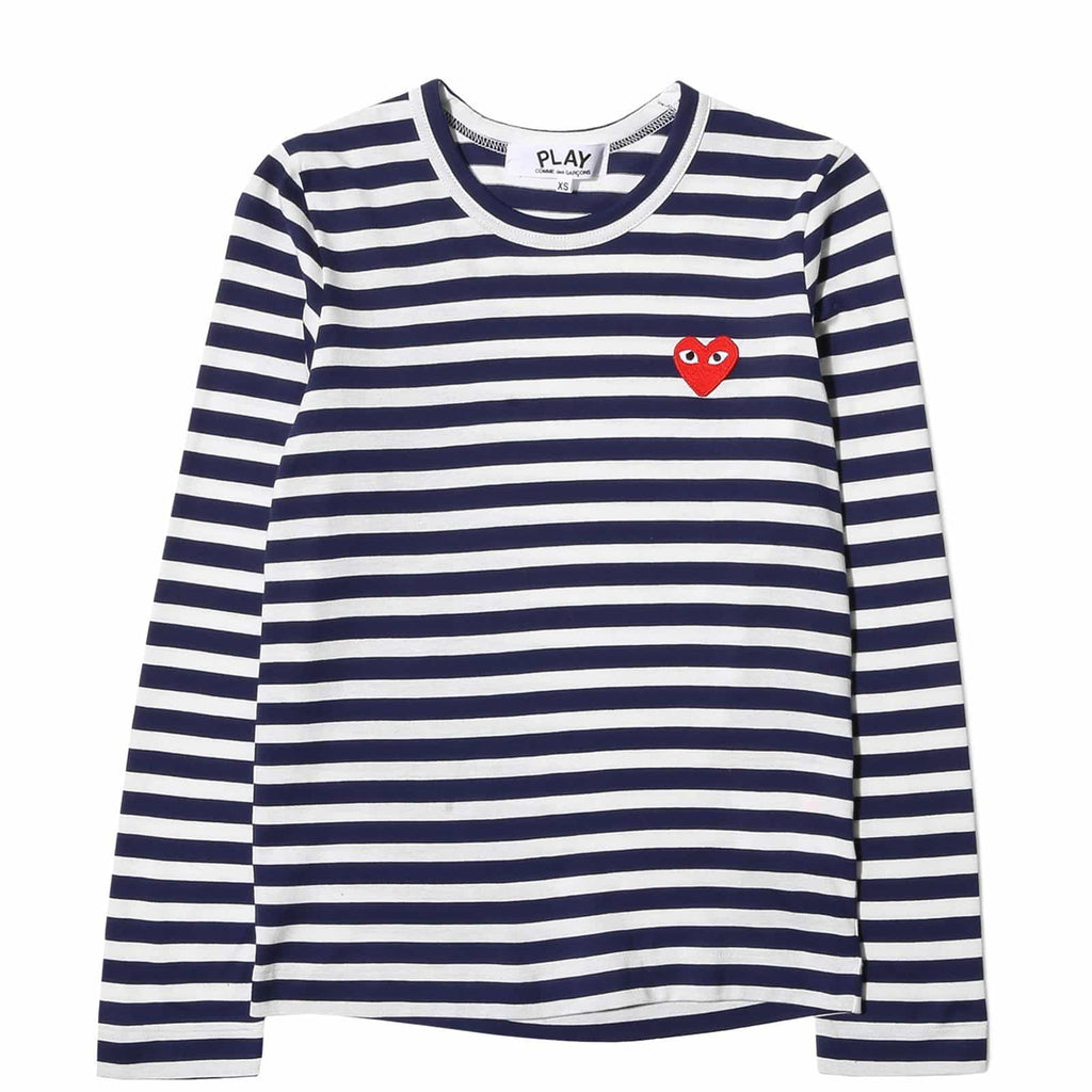 Comme des Garcons PLAY STRIPED T SHIRT LS Navy/White