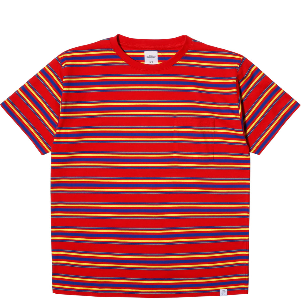 "Bedwin & the Heartbreakers S/S C-NECK BORDER TEE ""EARNIE"" Red"