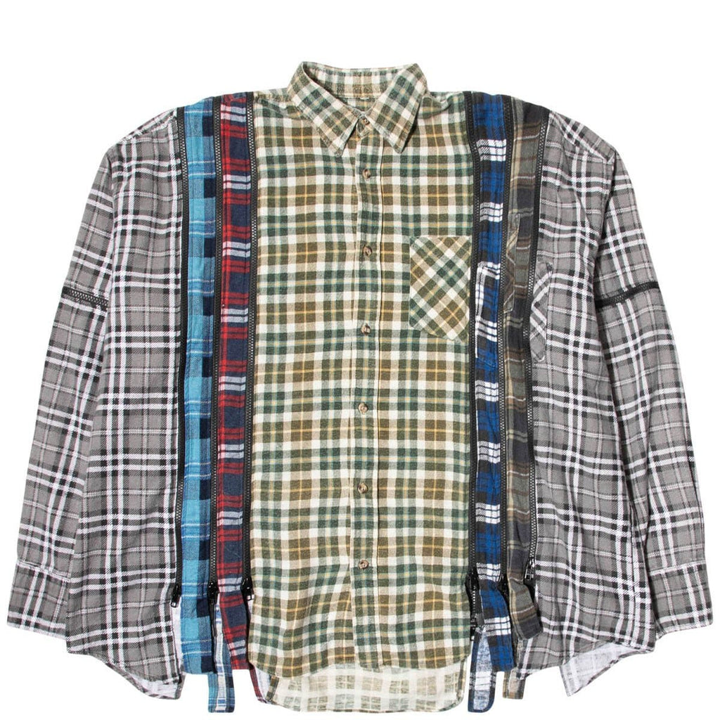 Needles Shirts ASSORTED / O/S 7 CUTS ZIPPED WIDE FLANNEL SHIRT SS21 23