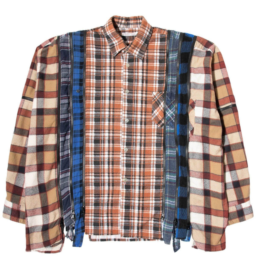 Needles Shirts ASSORTED / O/S 7 CUTS ZIPPED WIDE FLANNEL SHIRT SS21 20