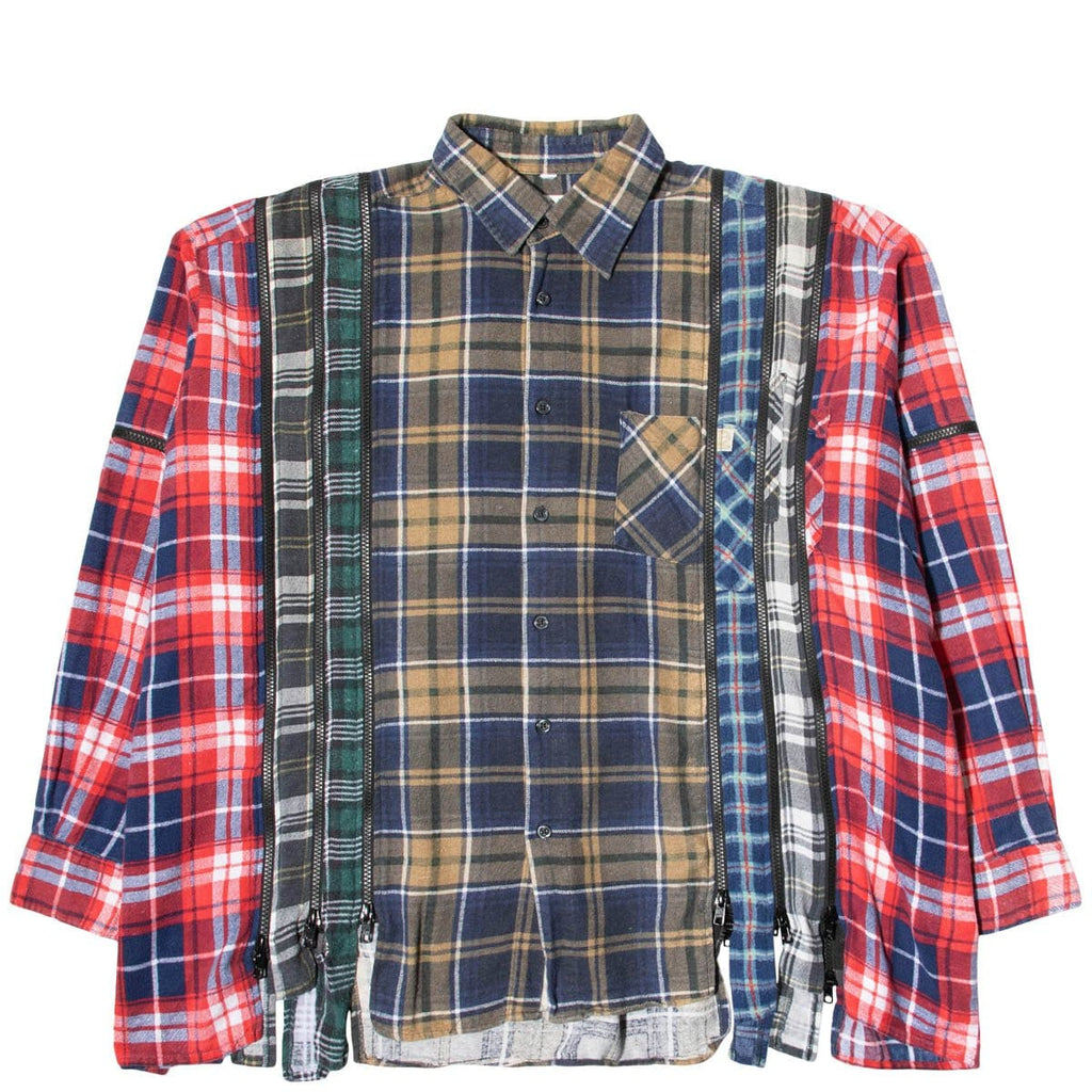 Needles Shirts ASSORTED / O/S 7 CUTS ZIPPED WIDE FLANNEL SHIRT SS21 22