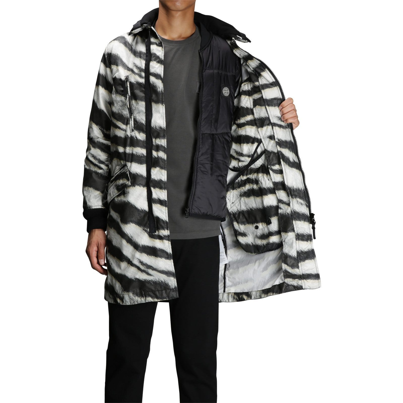 Stone Island COAT WITH DETACHABLE WAISTCOAT 6915711E1 White/Black