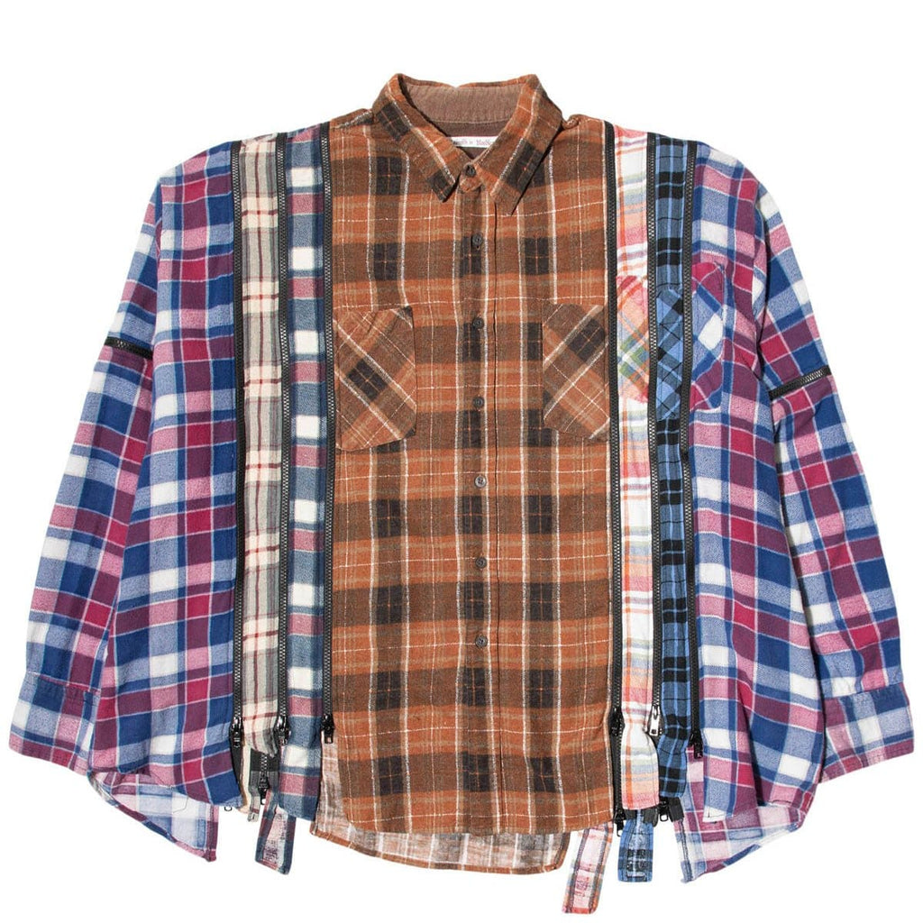 Needles Shirts ASSORTED / O/S 7 CUTS ZIPPED WIDE FLANNEL SHIRT SS21 7