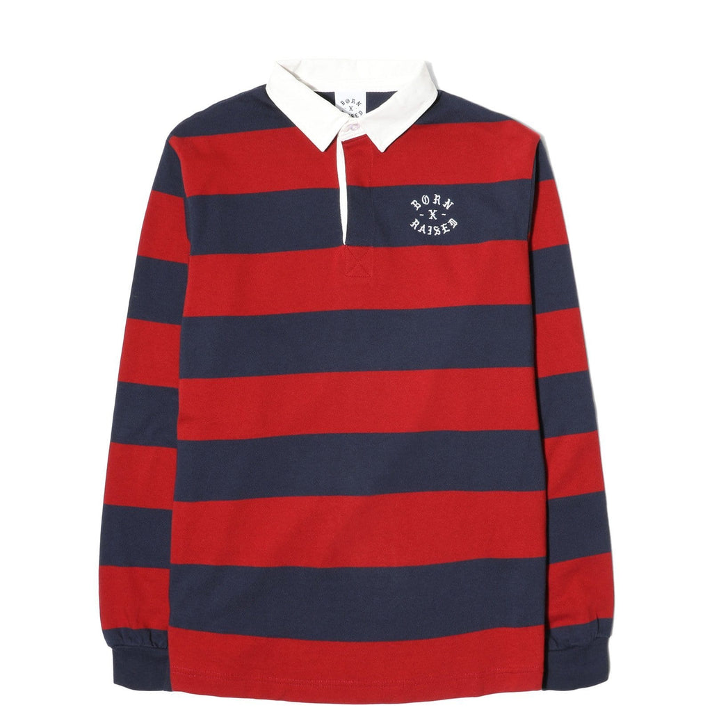 Born x Raised RUGBY SHIRT Navy/Burgundy