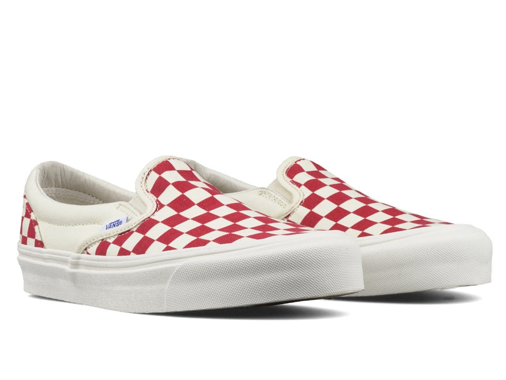 Vault by Vans OG CLASSIC SLIP-ON LX Checkerboard White/Red