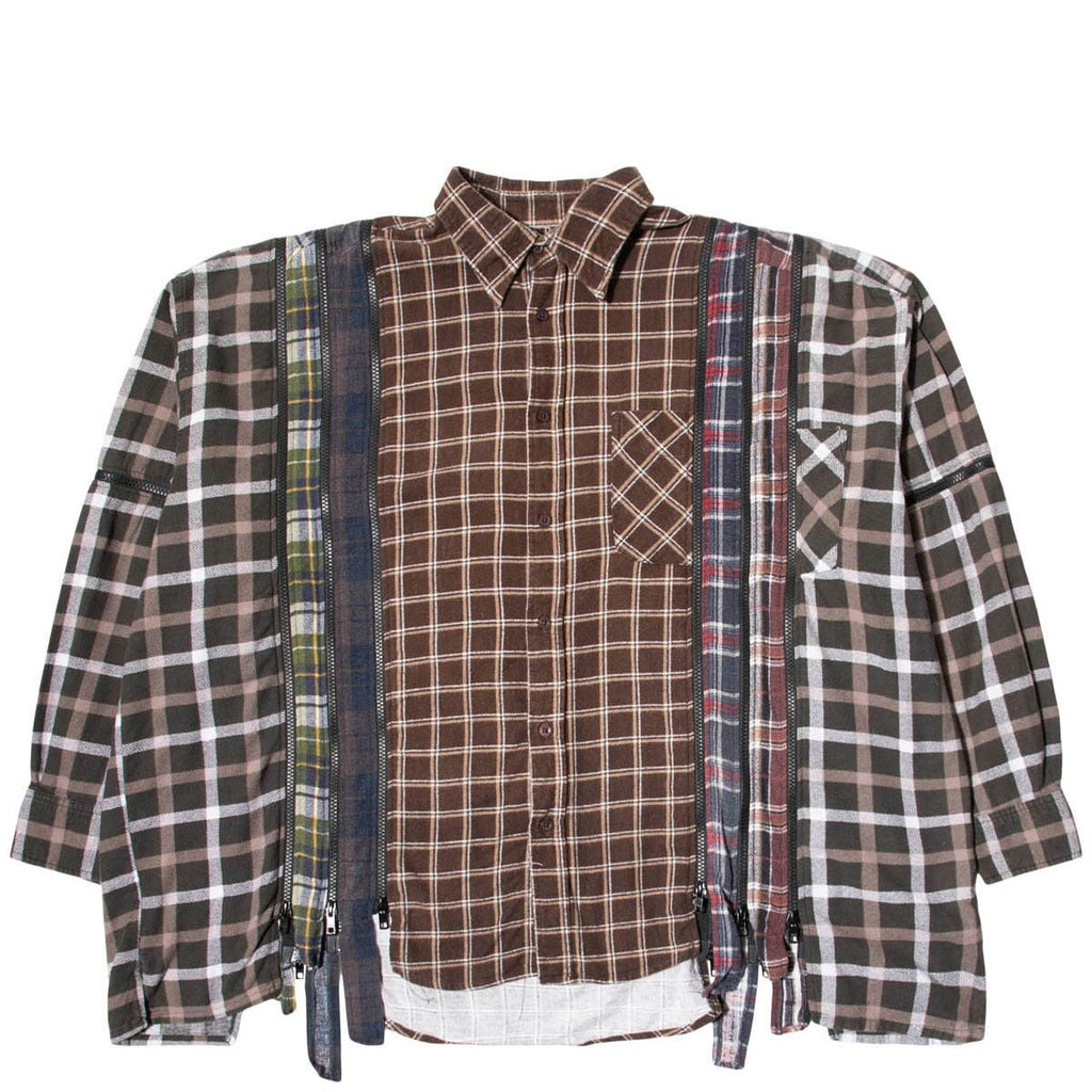 Needles Shirts ASSORTED / O/S 7 CUTS ZIPPED WIDE FLANNEL SHIRT SS21 5