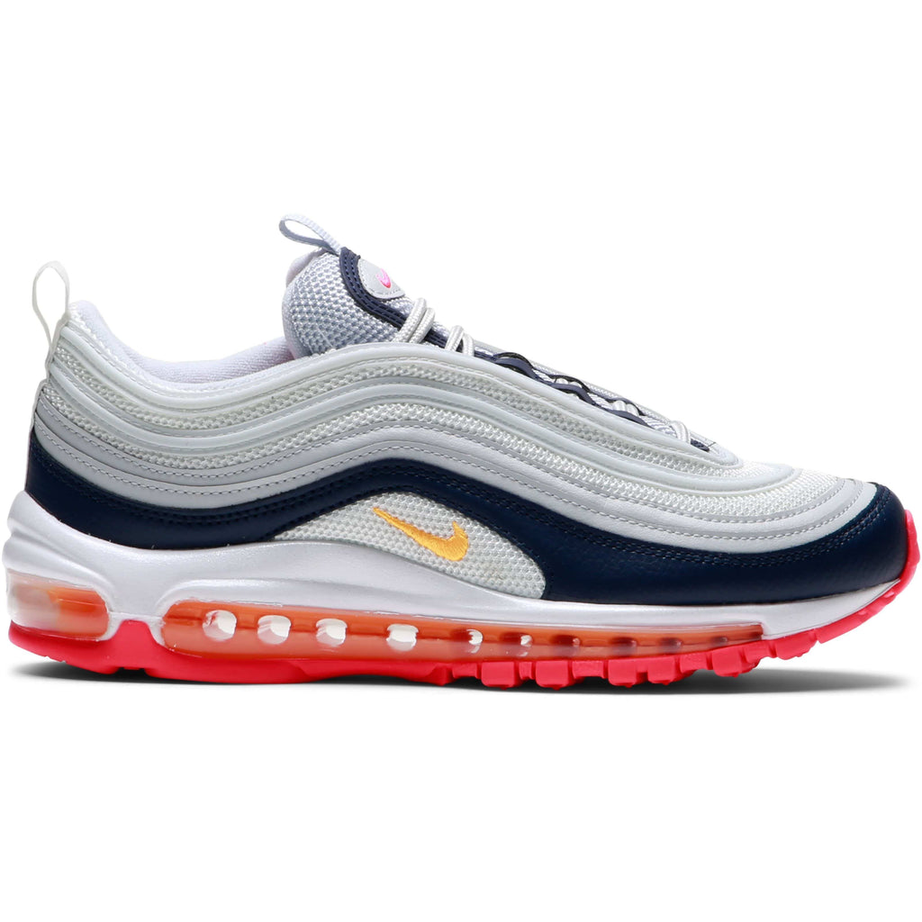 Women's AIR MAX 97 (PURE PLATINUMLASER ORANGE MIDNIGHT NAVY