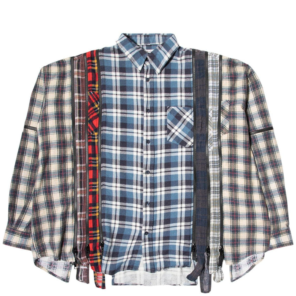 Needles Shirts ASSORTED / O/S 7 CUTS ZIPPED WIDE FLANNEL SHIRT SS21 15