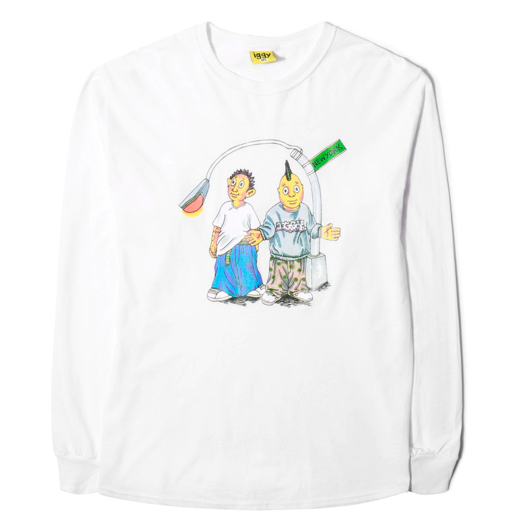 Iggy ON THE BLOCK LONG SLEEVE T-SHIRT White