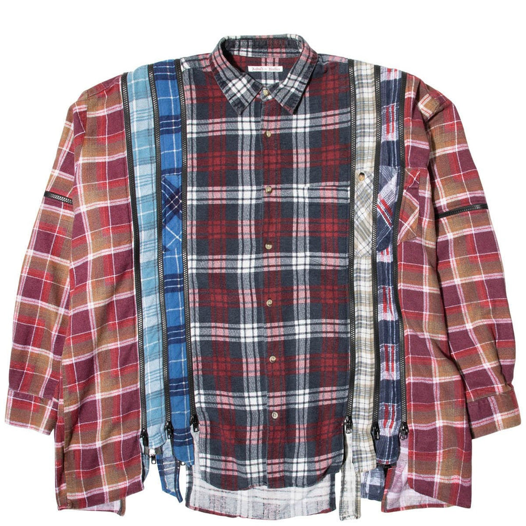 Needles Shirts ASSORTED / O/S 7 CUTS ZIPPED WIDE FLANNEL SHIRT SS21 18