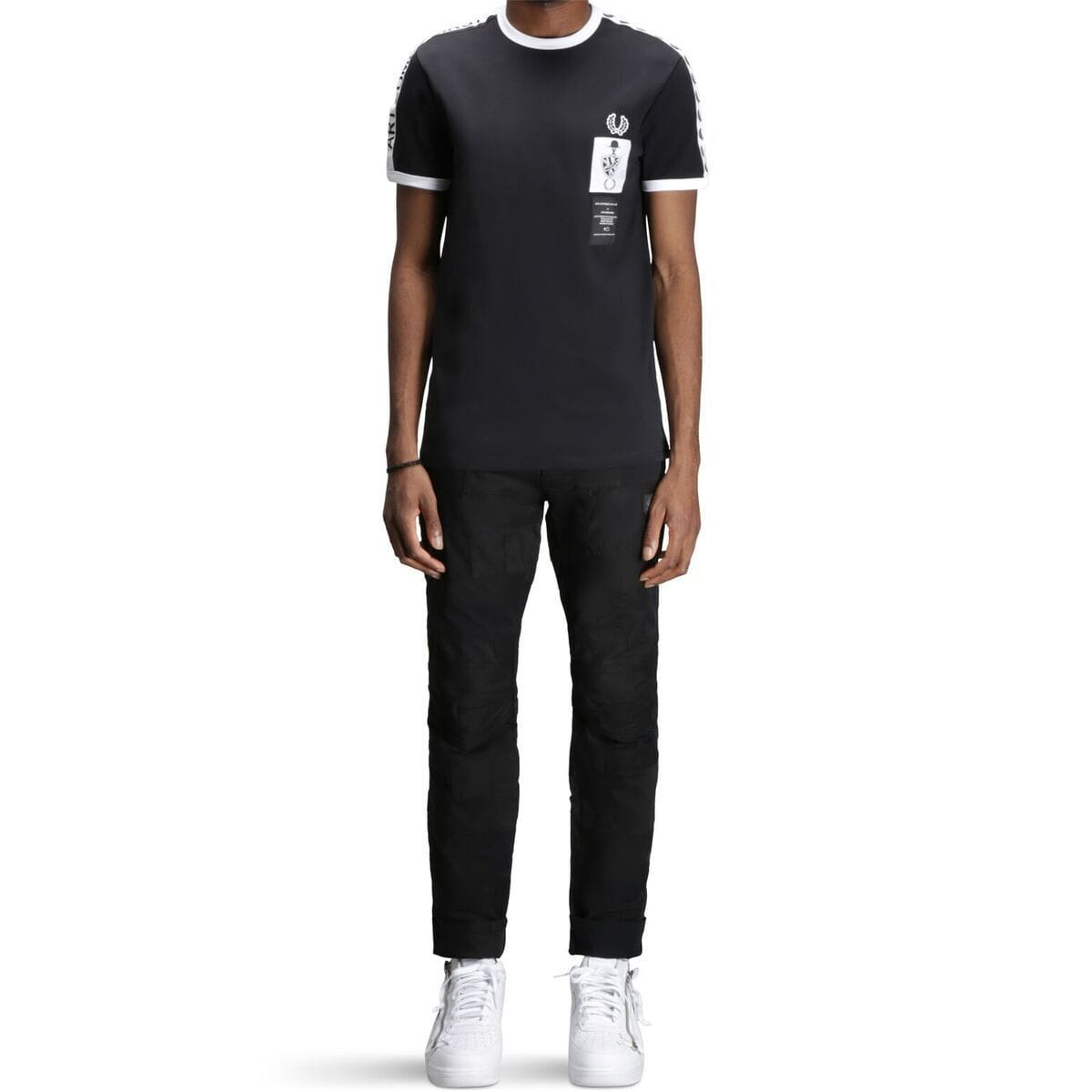 346317e4 Fred Perry X ART COMES FIRST RINGER T-SHIRT (Black)
