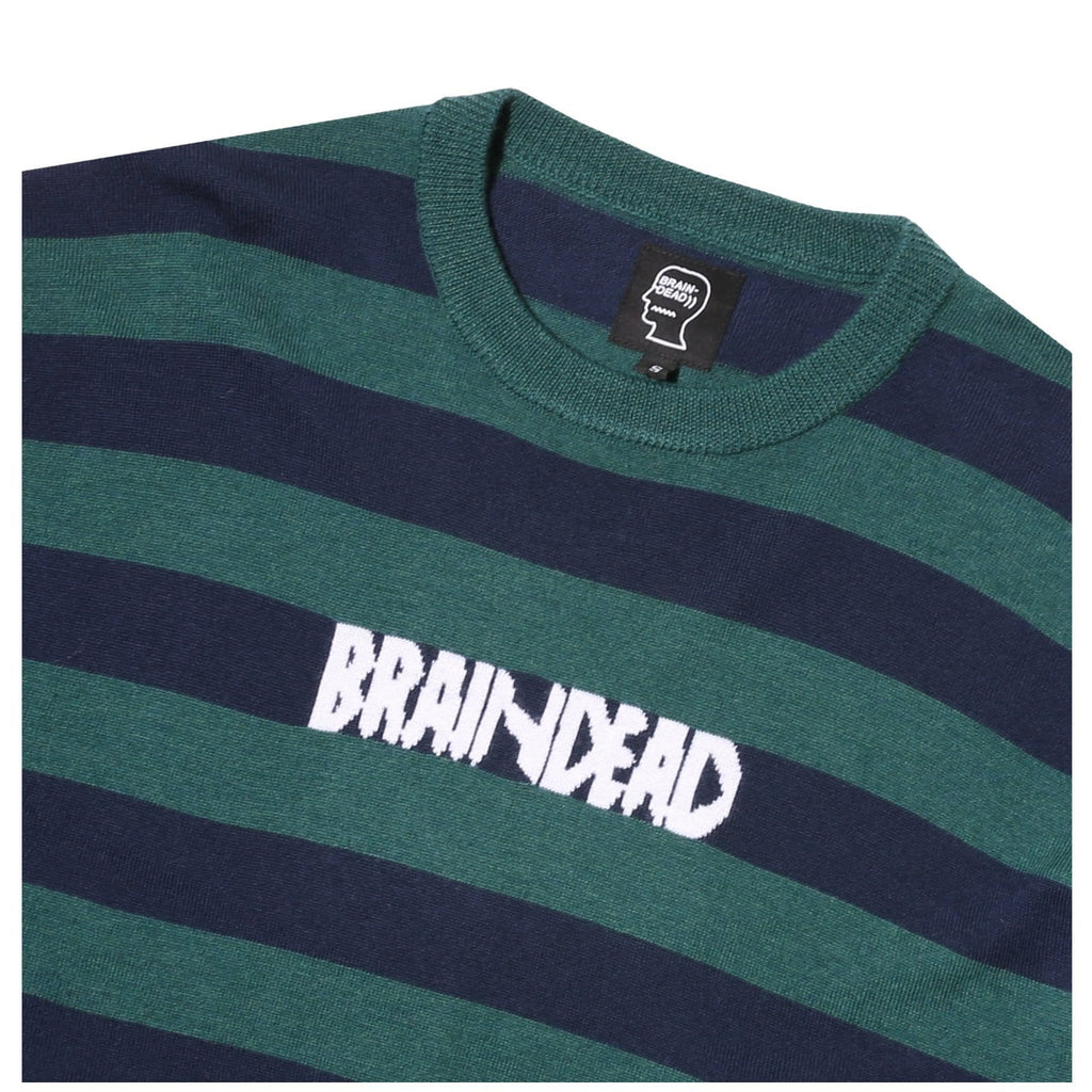 BRAIN DEADSHORT SLEEVE ANGORA SWEATER GREEN AND NAVY