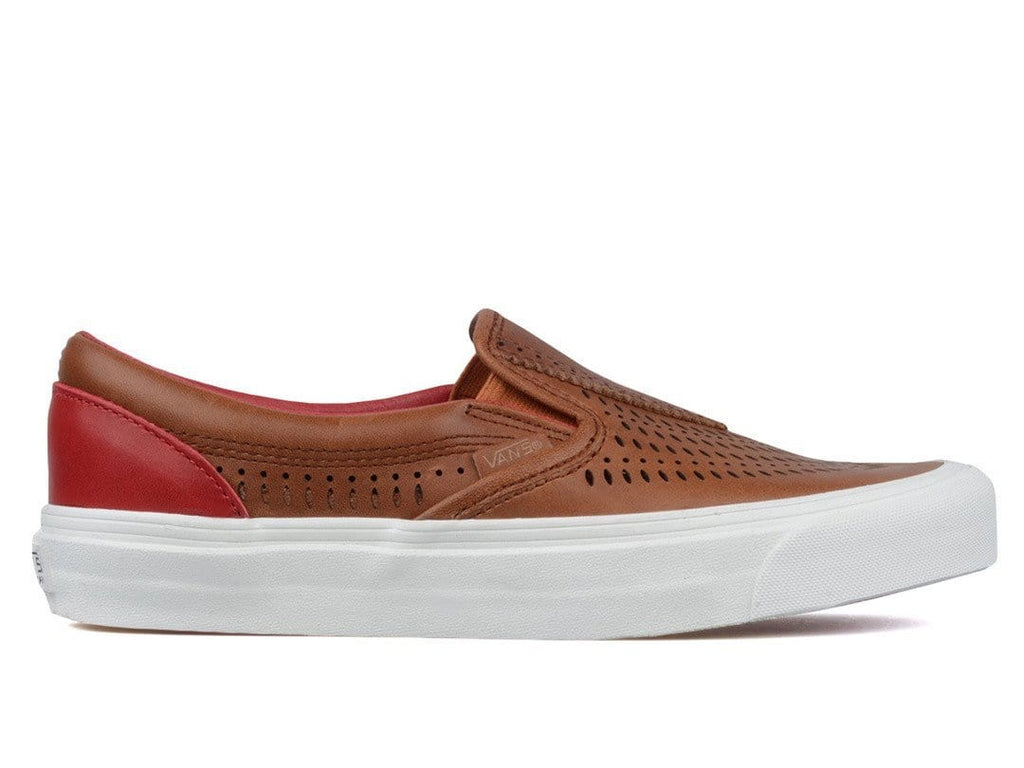 Vans Vault TH SLIP NOMAD LX (LEATHER) Natural/Jester Red