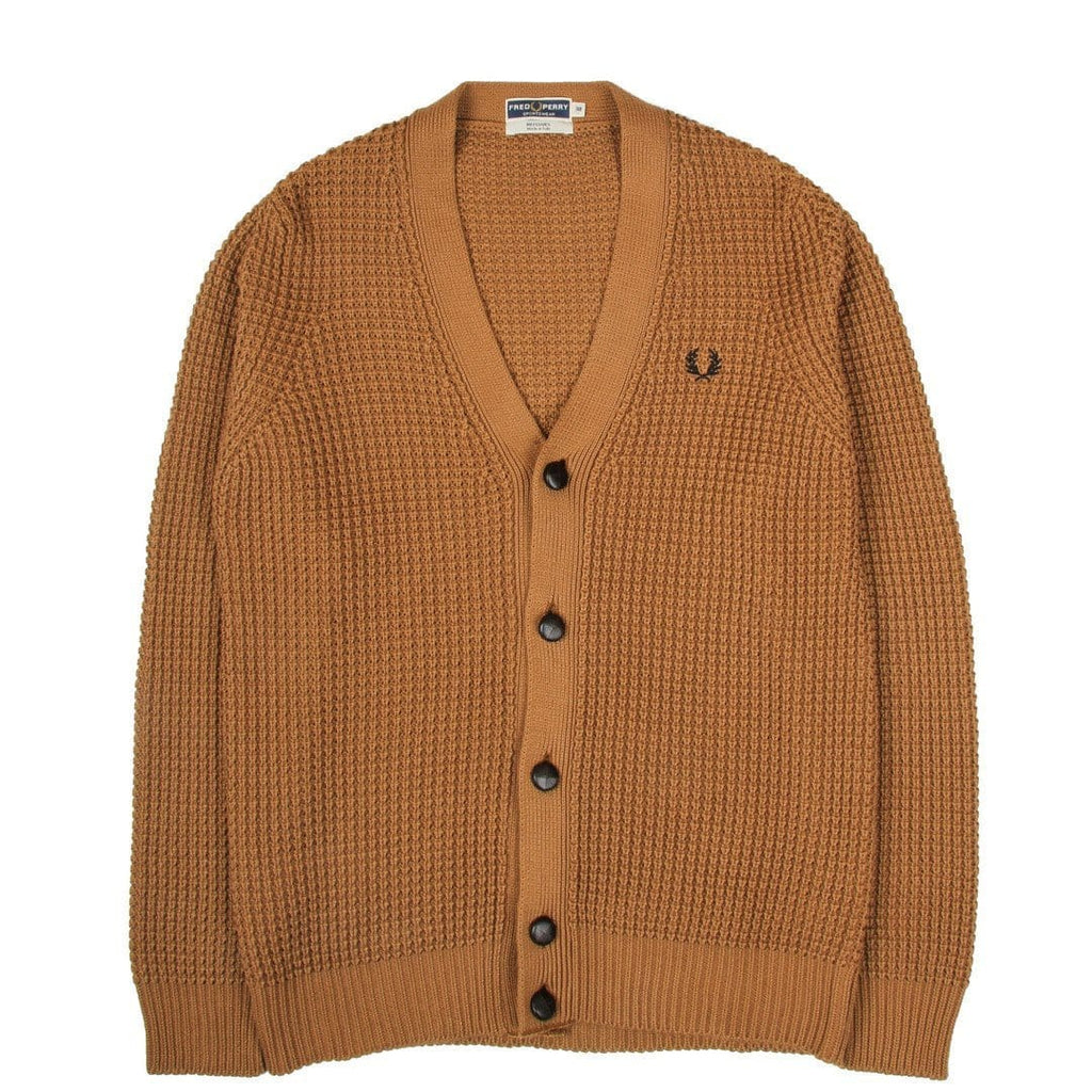 Fred Perry CHUNKY TEXTURE KNIT CARDIGAN Caramel