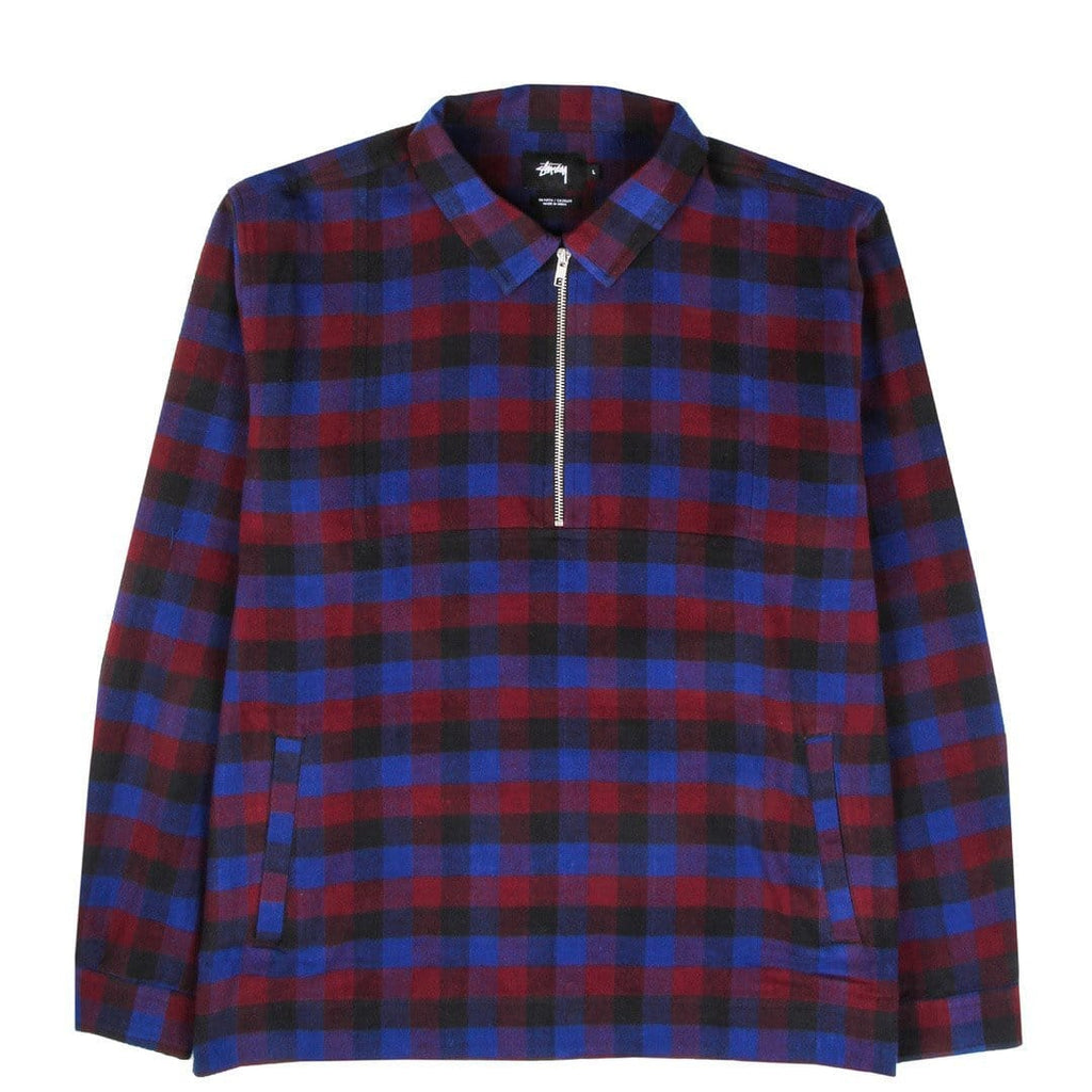 Stussy HALF ZIP UP SHIRT Royal