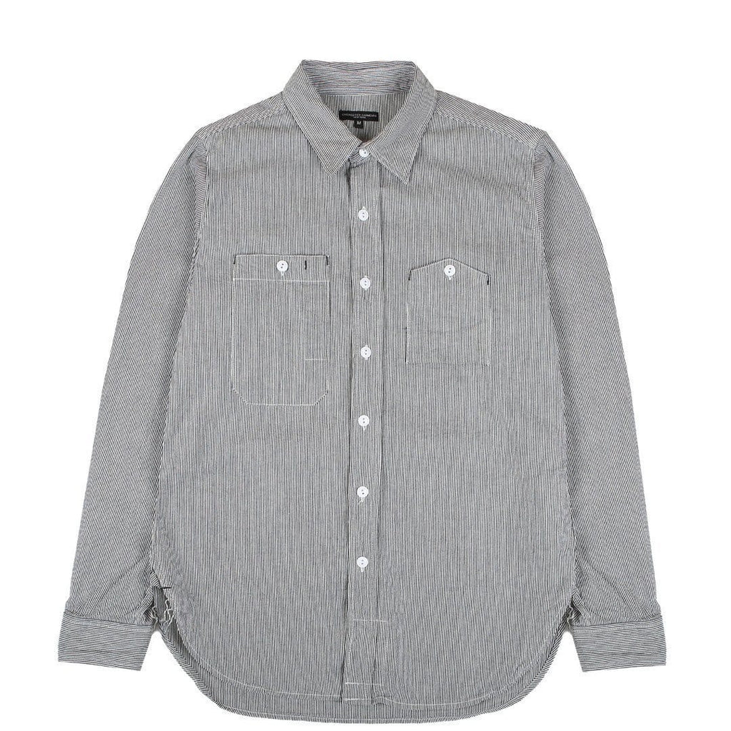 Engineered Garments WORK SHIRT Natural/Blue Railroad Narrow Stripe