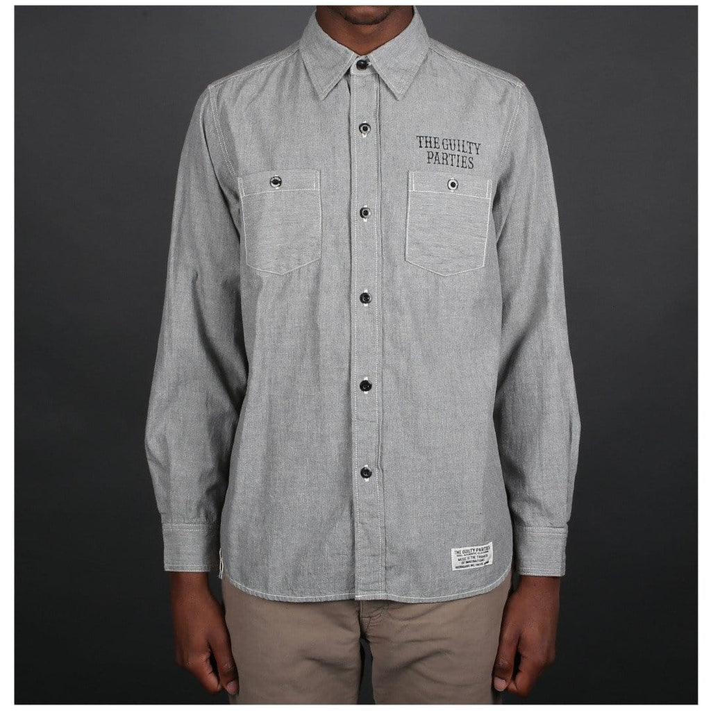 Wacko Maria CHAMBRAY WORK SHIRT ( TYPE-5 ) Light Grey