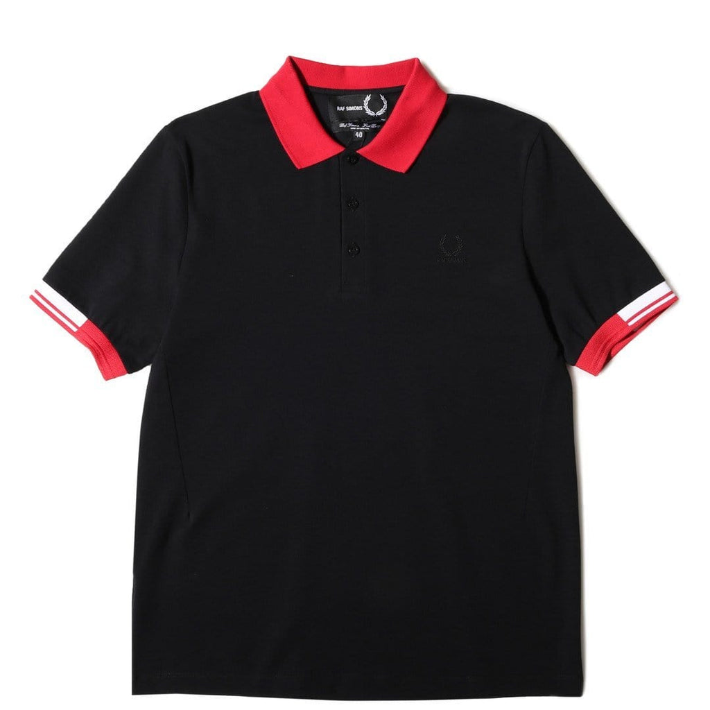 Fred Perry x Raf Simons TIPPED CUFF PIQUE SHIRT Black