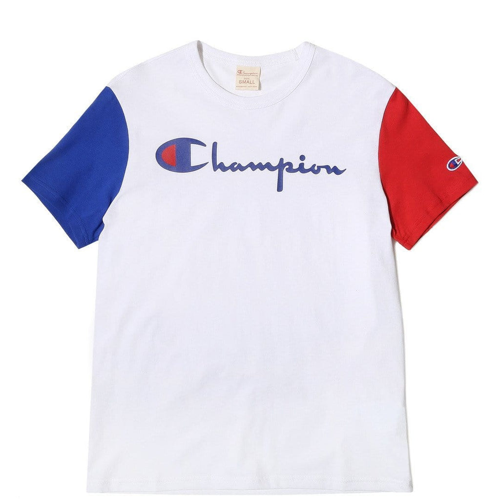 Champion CREWNECK T-SHIRT White/Red/Blue