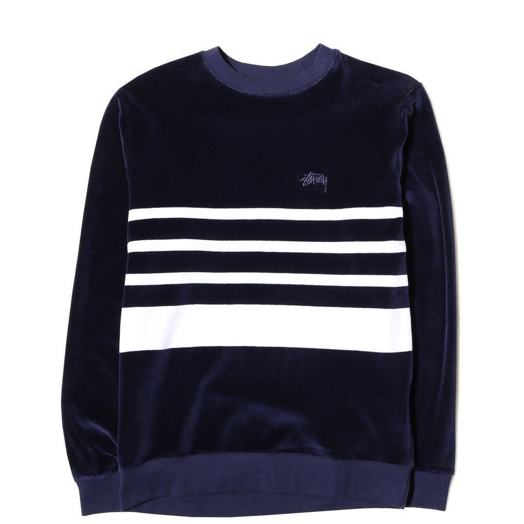 STUSSY VELOUR STRIPE CREW NAVY