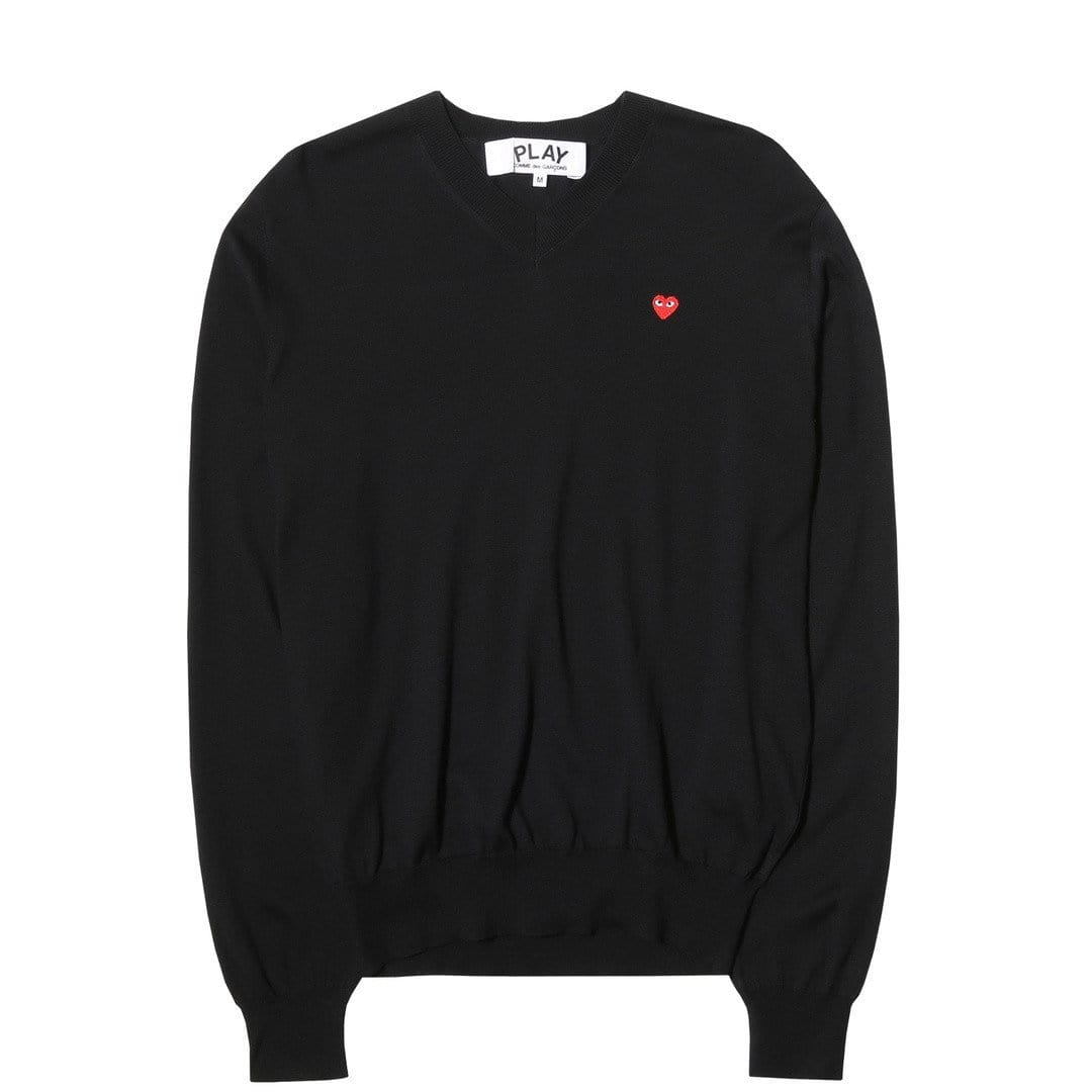 Comme des Garcons PLAY V-NECK COTTON PULLOVER Black