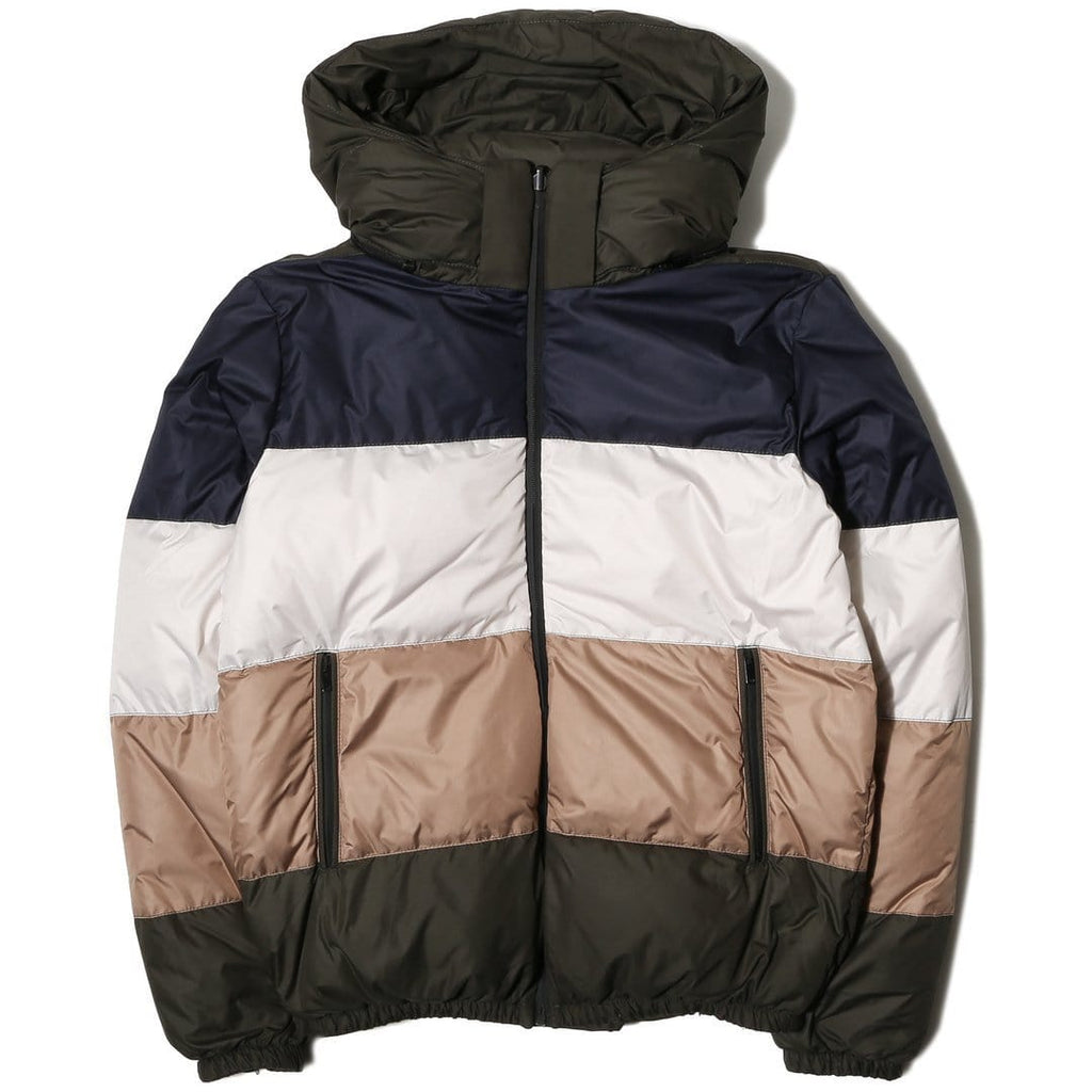LC23 MULTICOLOR DOWN JACKET Green/Camel/Navy/Cream