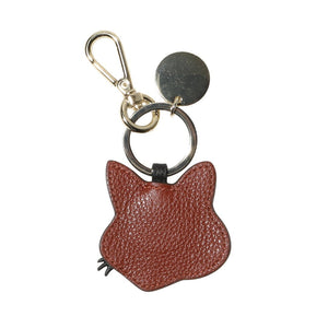 Maison Kitsuné Bags & Accessories BROWN / O/S LEATHER FOX HEAD KEYRING