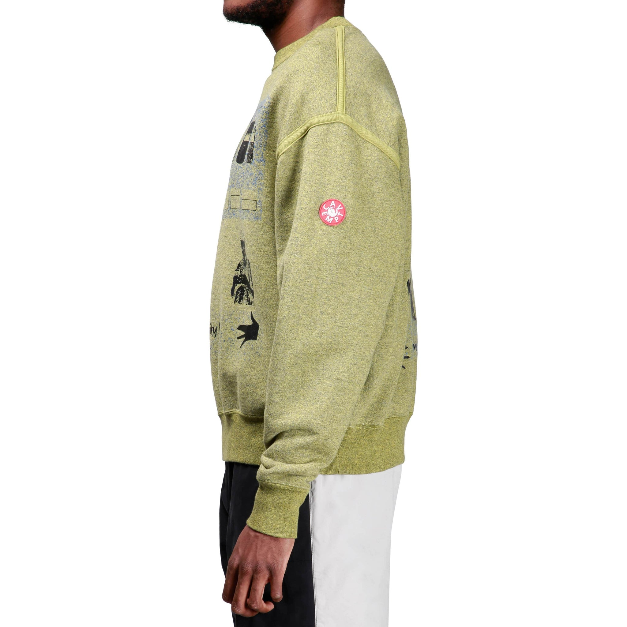 Cav Empt YELLOW HEATHER CREW NECK Olive