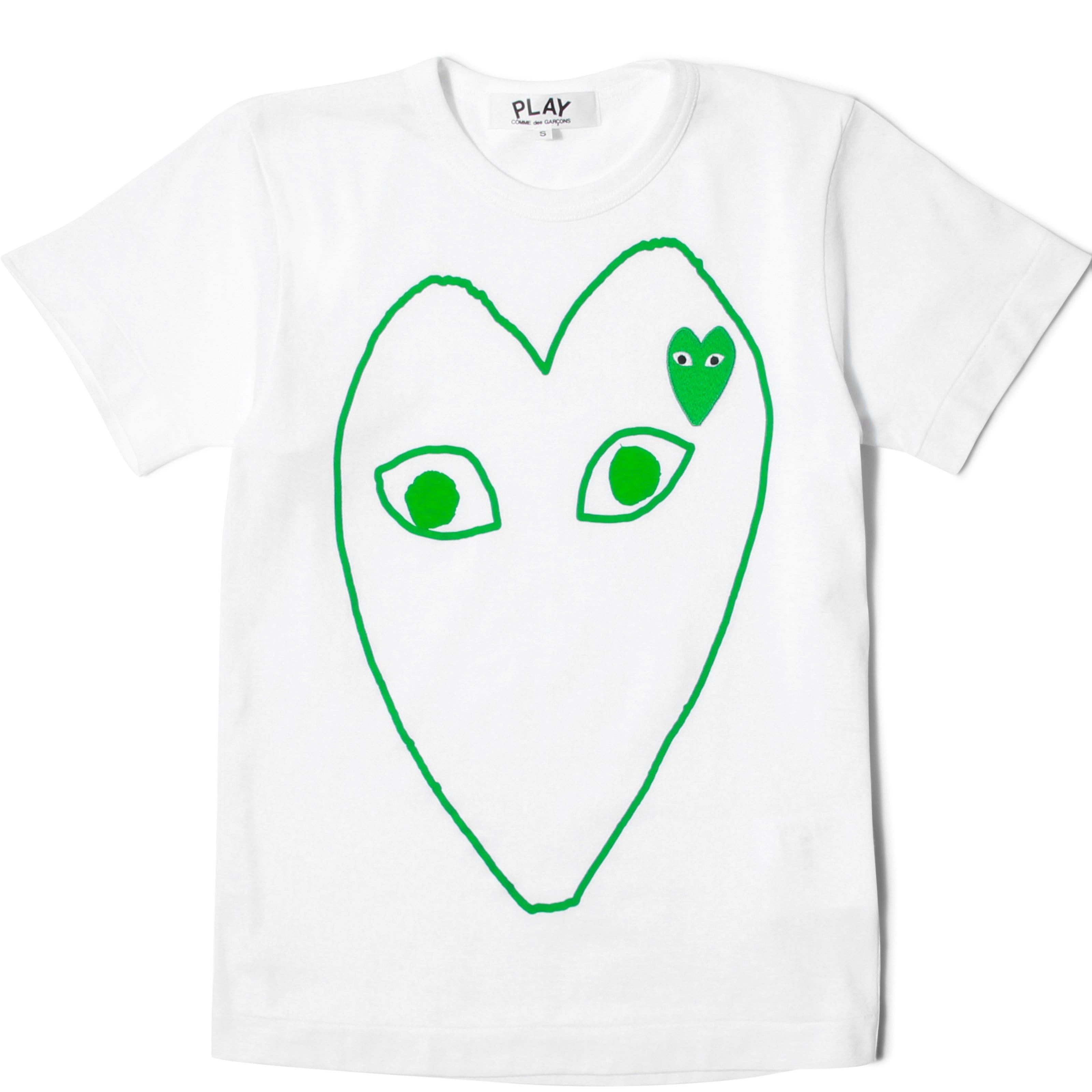 Comme des Garçons Play T-Shirts WOMEN'S LARGE OUTLINE GREEN HEART & GREEN LOGO T-SHIRT