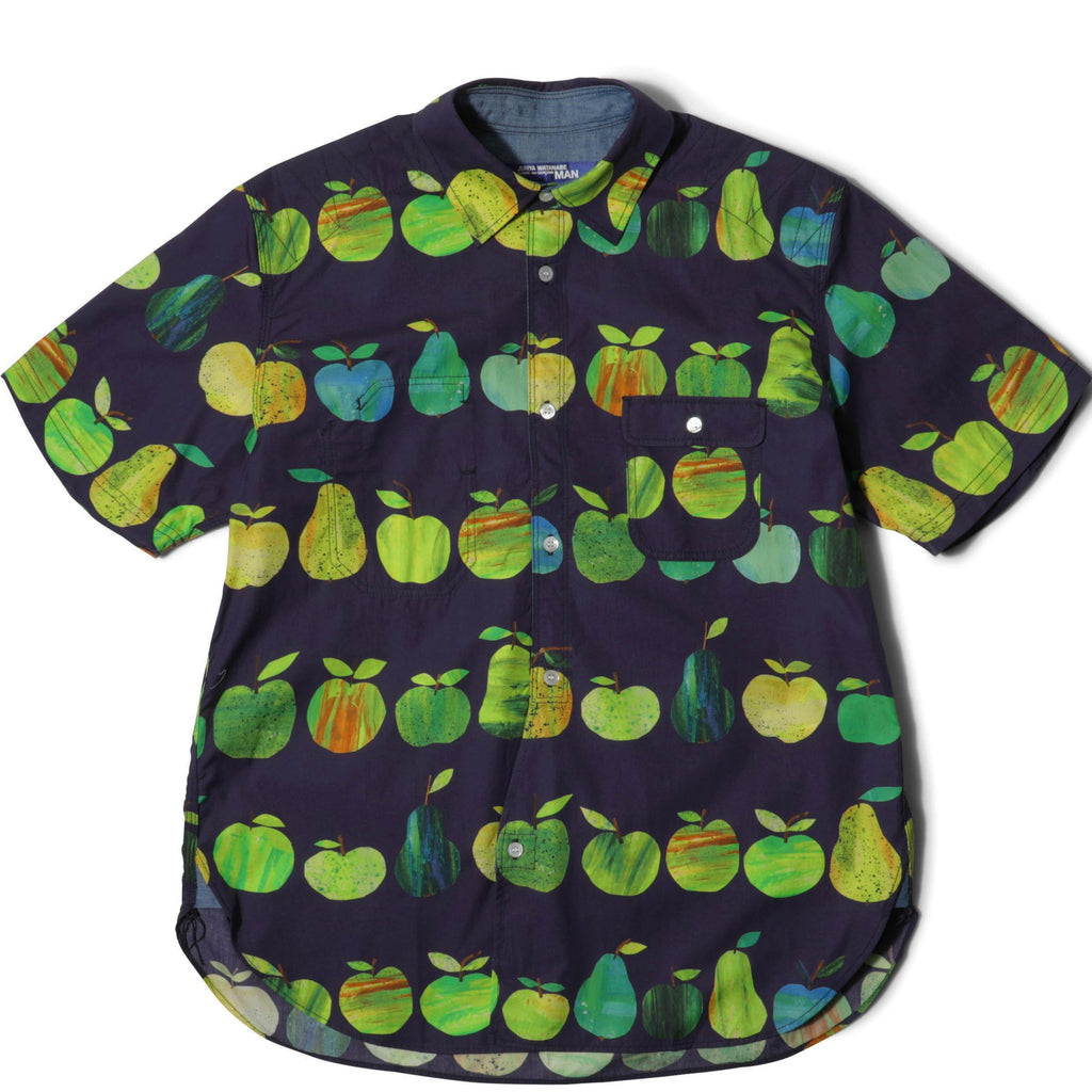 Junya Watanabe COTTON APPLE PRINT S/S SHIRT Navy/Green