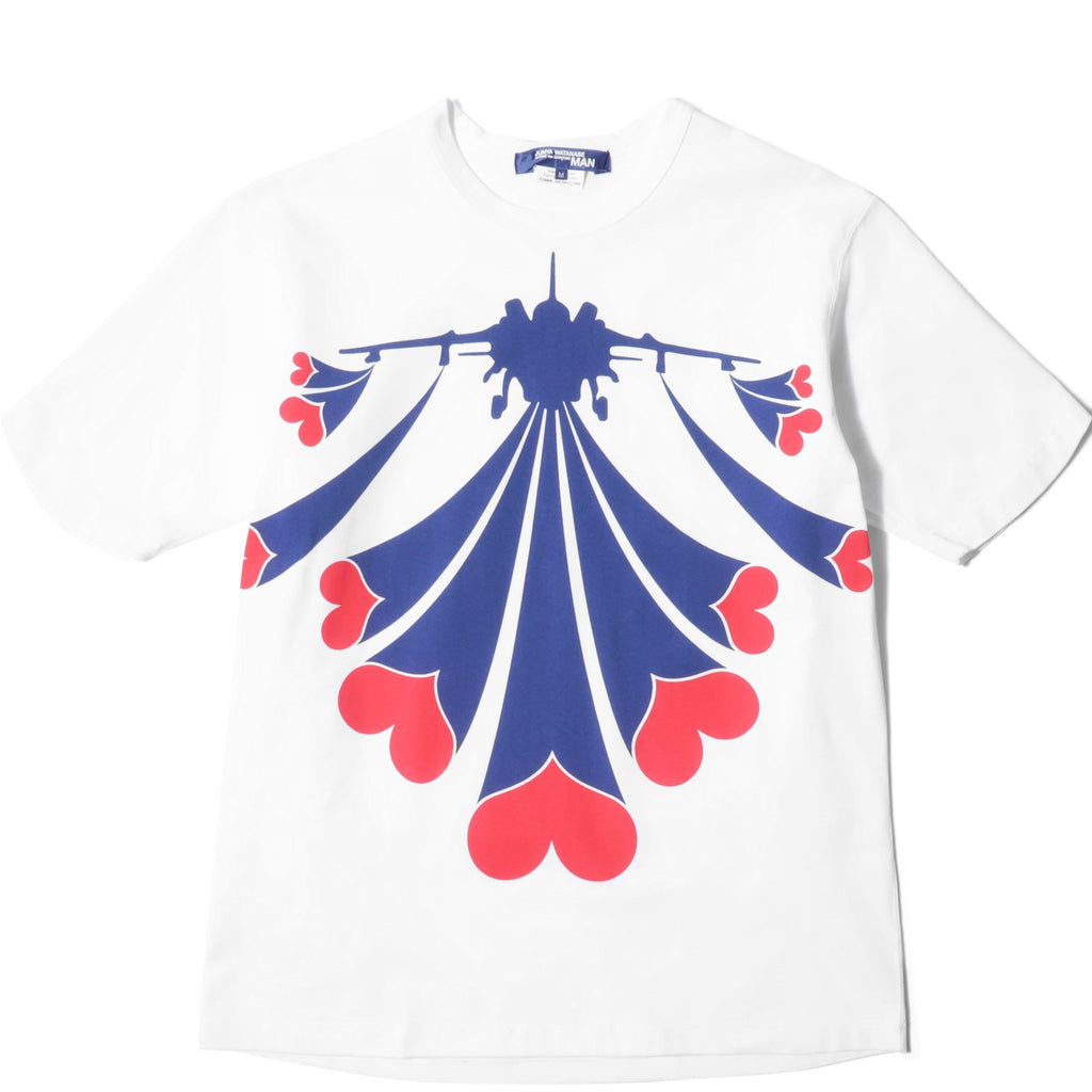 Junya Watanabe LOVE BOMB STITCH-FILLED PRINTED TEE White/Navy/Red