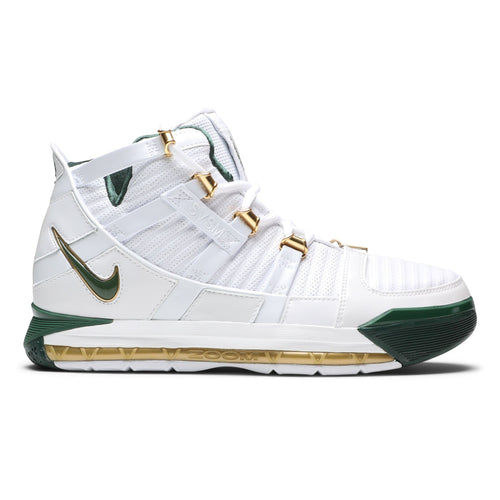 huge discount 8c957 ffb55 Nike ZOOM LEBRON 3 QS White Deep Forest Metallic Gold