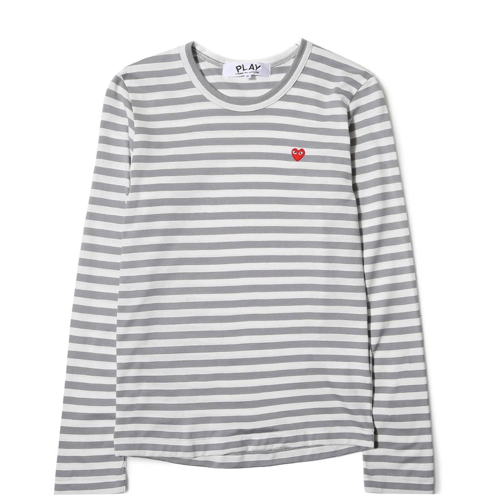 Comme des Garcons PLAY STRIPED T SHIRT LS Grey