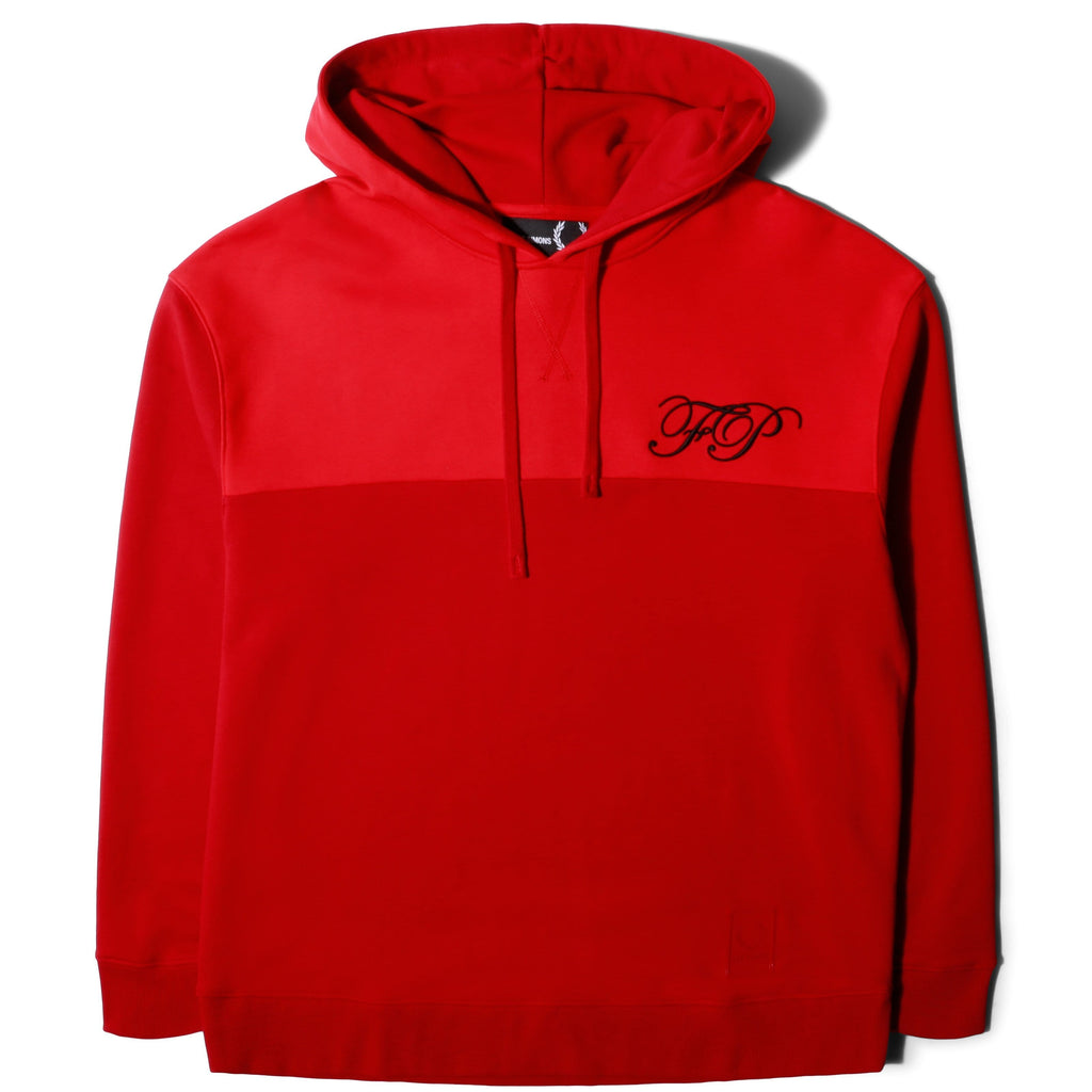 Fred Perry x Raf Simons EMBROIDERED INITIAL HOODED SWEAT Winter Red