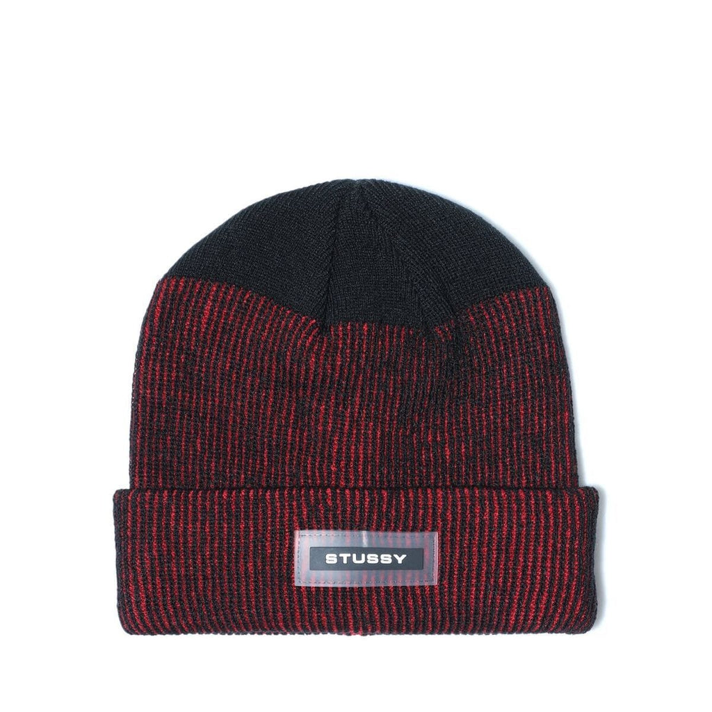 0bc839d2248 Stussy RUBBER PATCH TWO TONE BEANIE (Red)