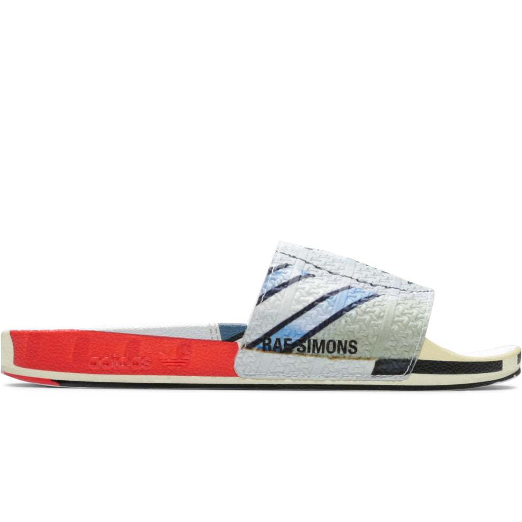 x Raf Simons RS MICRO ADILETTE Silver Metallic/Bright Red/Bright Red