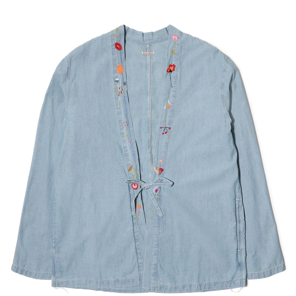 Kapital CHAMBRAY KAKASHI SHIRT (FLOWER) Sax