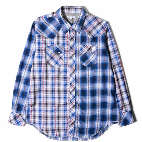 Engineered Garments WESTERN SHIRT Blue Dobby Shadow Plaid
