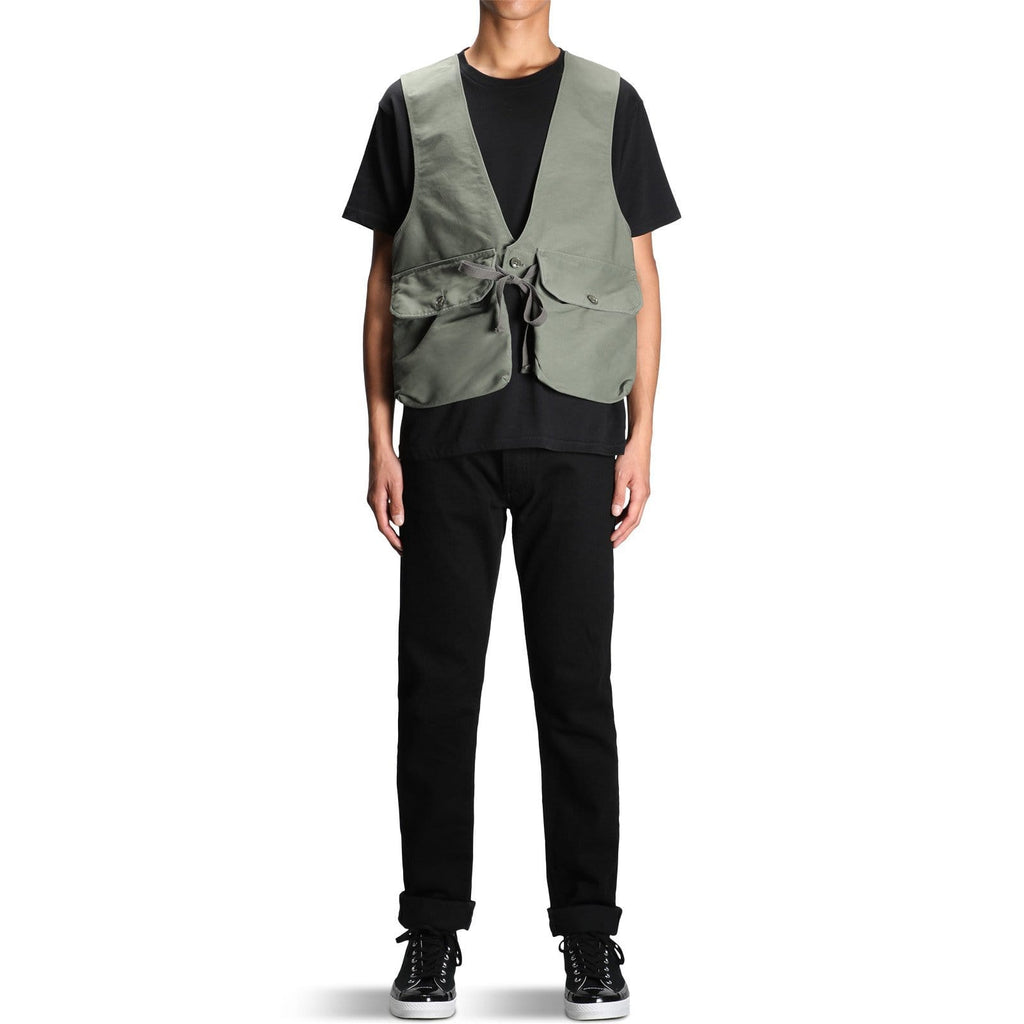 Engineered Garments FOWL VEST Olive Cotton Double Cloth