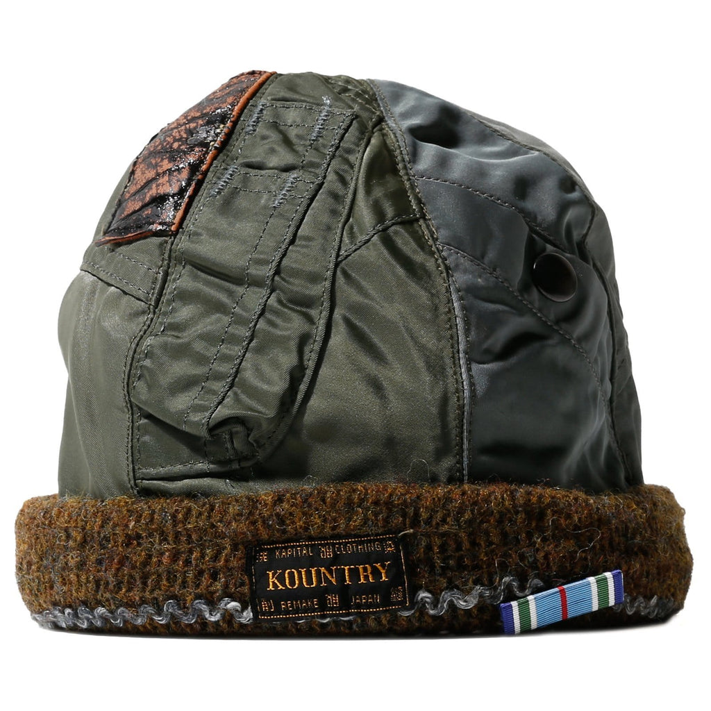 Kapital AIR FORCE TWILL REMAKE KNIT CAP Khaki
