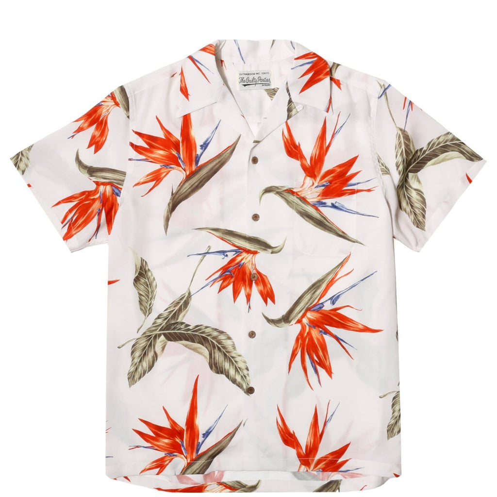 Wacko Maria BIRD OF PARADISE S/S HAWAIIAN SHIRT White