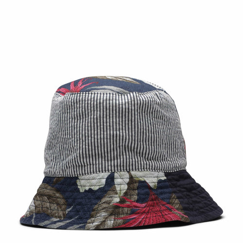Engineered Garments BUCKET HAT NAVY HAWAIIAN FLORAL JAVA CLOTH