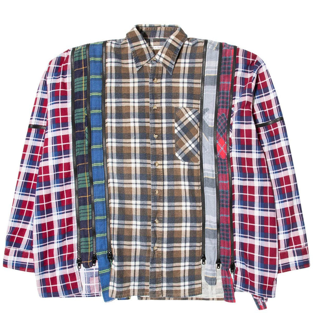Needles Shirts ASSORTED / O/S 7 CUTS ZIPPED WIDE FLANNEL SHIRT SS21 21